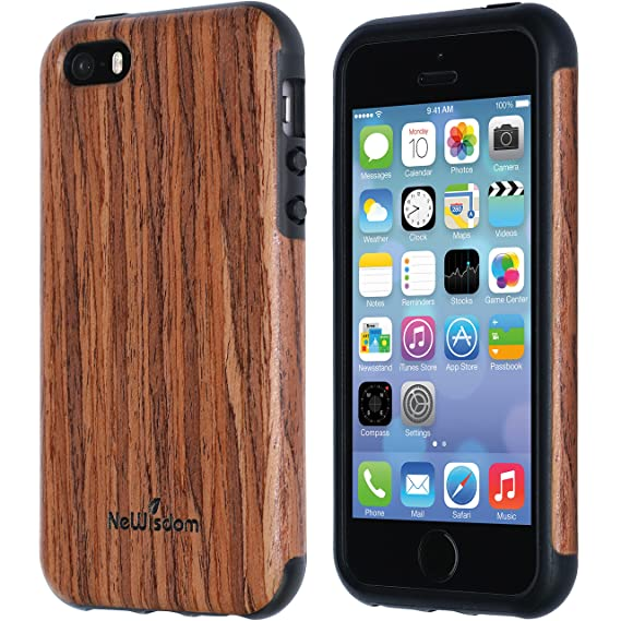 new arrival ca682 79471 NeWisdom iPhone se Wood case, iPhone 5s 5 Case Wood, Soft Wooden Non Slip  Slim Shock Proof Unique Designed TPU Silicon Cover - Sandalwood