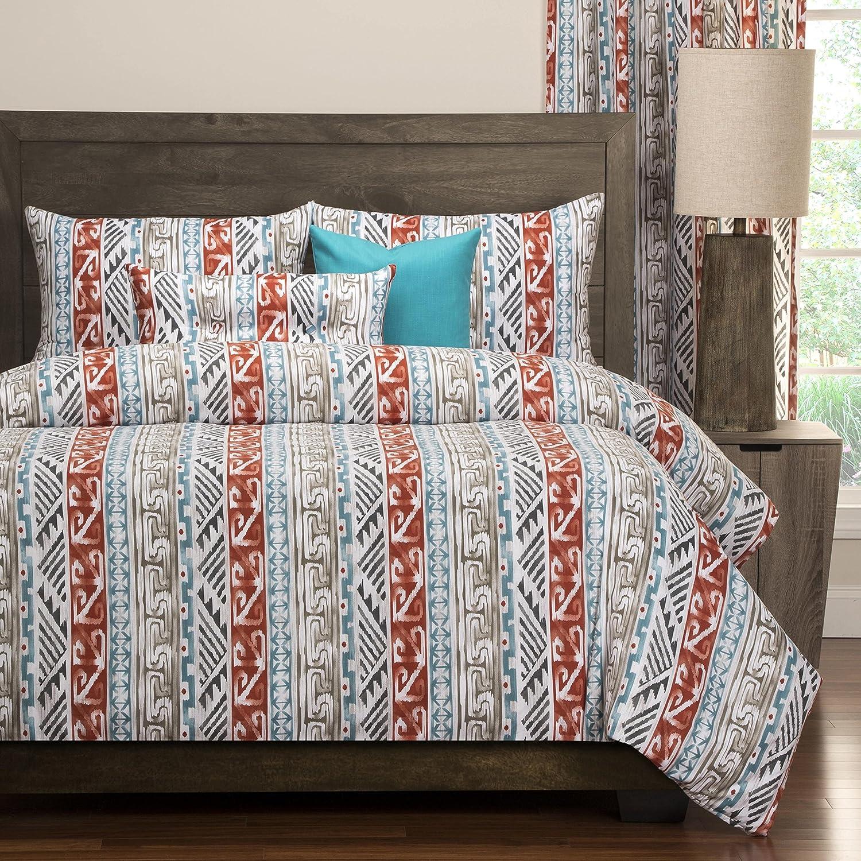 6ピースマルチカラー南西部フルサイズ羽毛布団カバーセット、美しい素朴なWestern Ranch South West寝具、Ikat Aztech幾何パターン、ボヘミアンBohoシックモダンCottageテーマブラウン、コットン B074RBK6H8