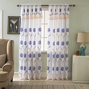 "RT Designers Collection, Blue Crystal Floral Embroidered 54 x 84 in. Rod Pocket Single Curtain Panel w/Attached Valance, 54"" x 84"""