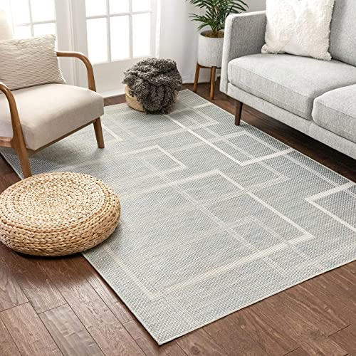 Well Woven Gerra Blue Geometric Flatweave Boxes Stripes Pattern Area Rug 8×11 7 10 x 10 6