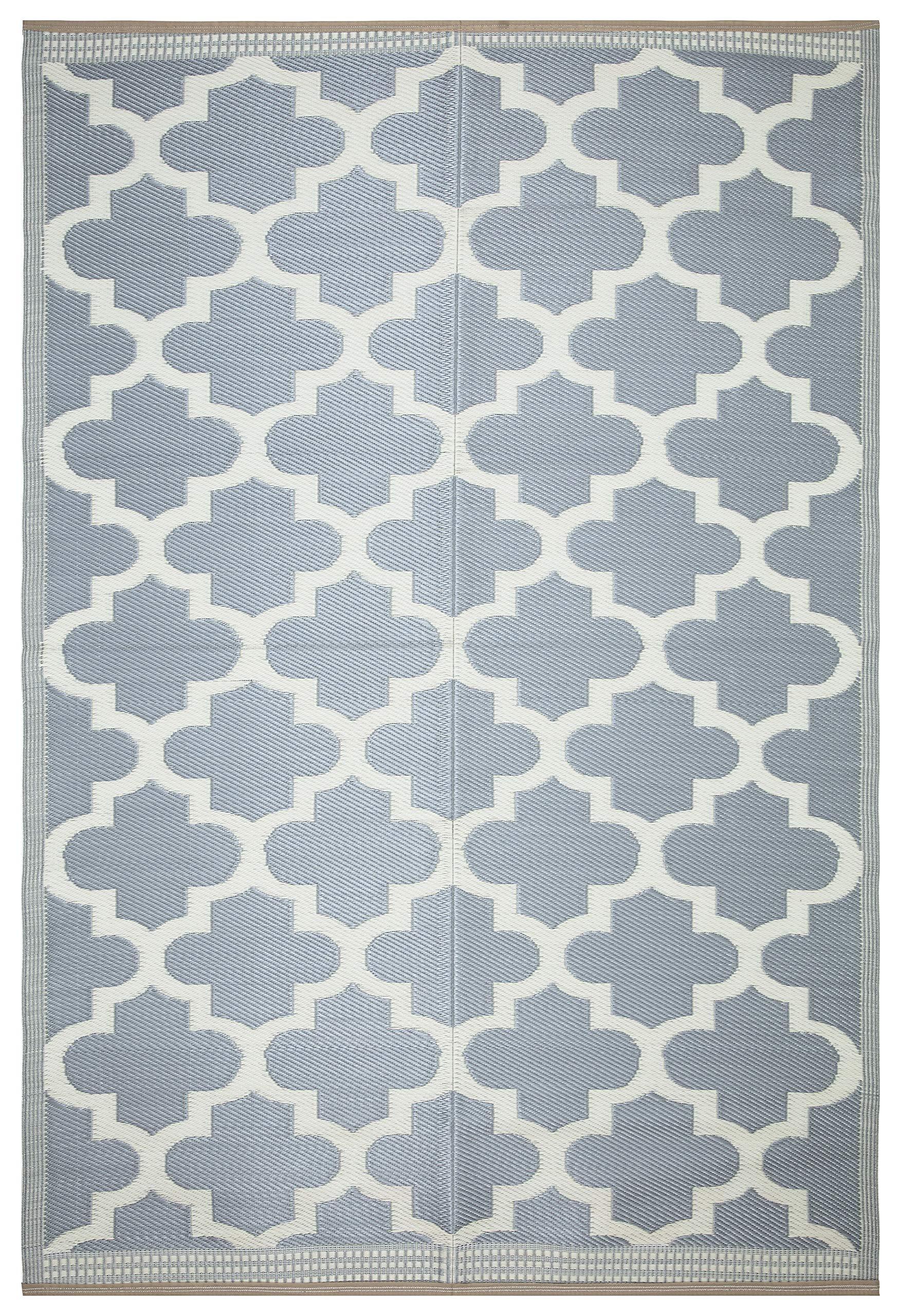 Lightweight Indoor Outdoor Reversible Plastic Area Rug - 5.9 x 8.9 Feet - Trellis- Grey/White
