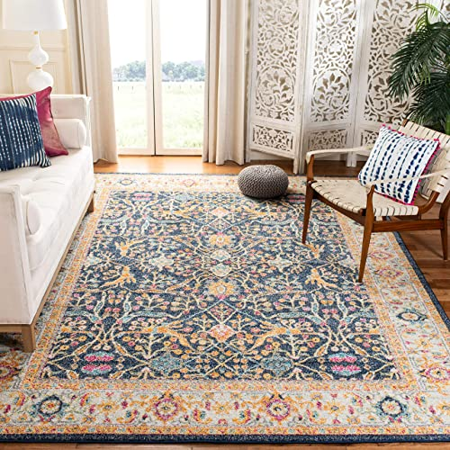 Safavieh Madison Collection MAD612D Navy and Cream Bohemian Chic Oriental Area Rug 10' x 14'