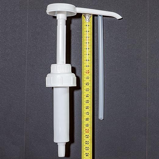 Dispensador de Liquidos rígido para garrafas y botellas de 5 y 10 litros con boca diámetro DIN 45. Con tiros de succión de 30ml - Tubo de 18 cm recortable.
