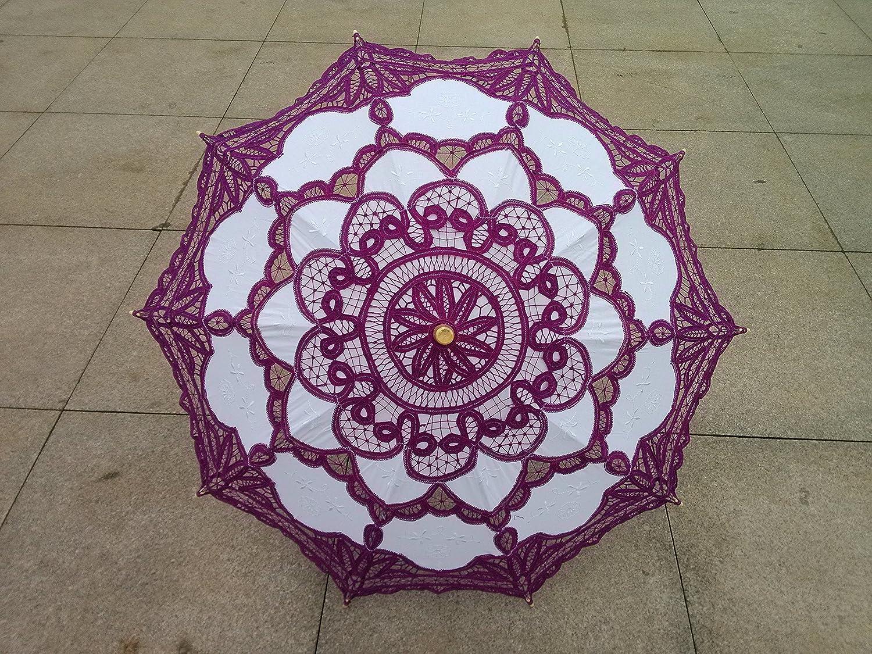 Handmade Blue Lace Parasol Umbrella Wedding Bridal 30 Inch Adult Size