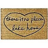 Relaxdays There is no place like home – Felpudo para la entrada de su hogar hecho de fibras de coco y PVC con medidas 40 x 60 cm antideslizante elemento decorativo, color natural