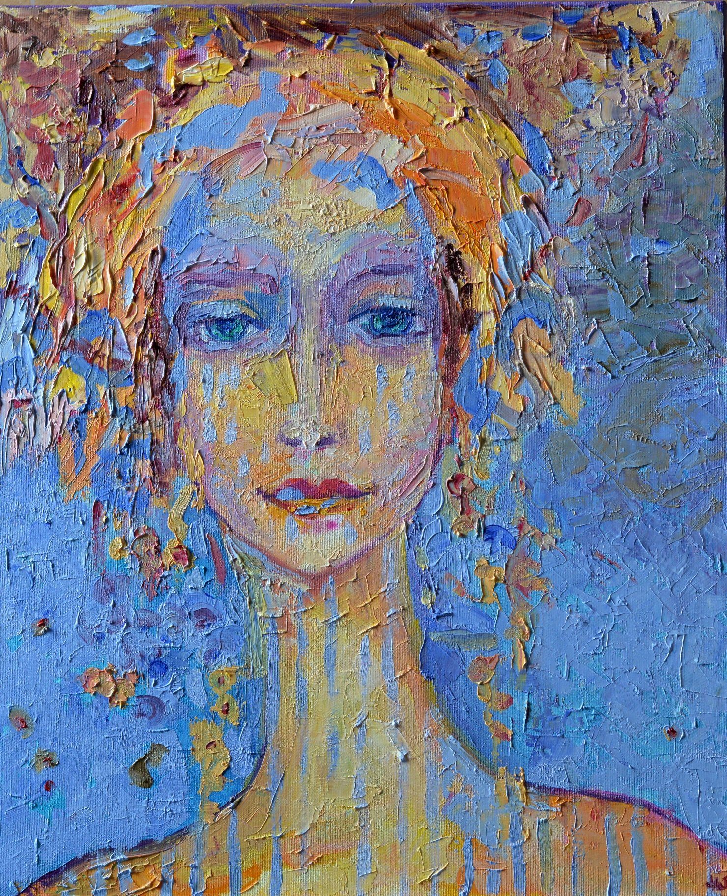 Women artwork Female figure Head Face Impasto Textured ON CANVAS 15x18 Woman painting Original hand painted oil Living Room Fine art work Abstract figurative by SmartPolonia