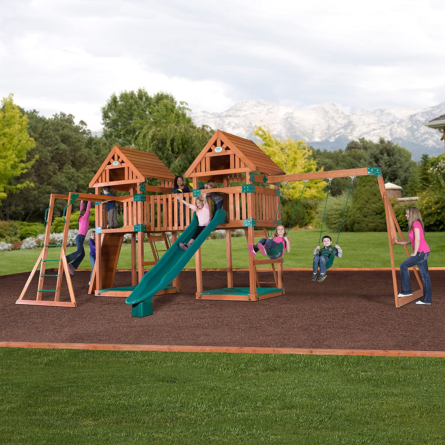 Amazoncom Backyard Discovery Kings Peak All Cedar Wood Playset - Backyard playground equipment