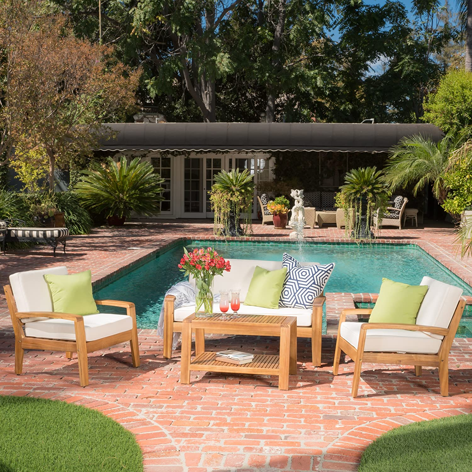 Parma 4 Piece Outdoor Wood Patio Furniture Chat Set w/Water Resistant Cushions (Four Piece Chat Set, Beige)