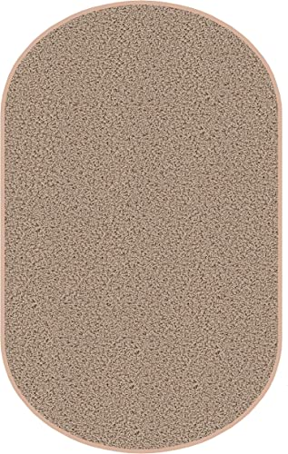 5 x8 Oval Beige Area Rug. Frieze Plush Textured Carpet for Residential or Commercial use. Approximately 1 2 Thick with Binding.
