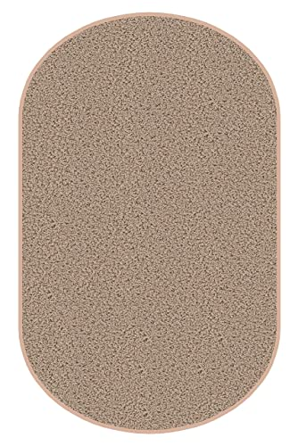 3 x5 Oval Beige Area Rug. Frieze Plush Textured Carpet for Residential or Commercial use. Approximately 1 2 Thick with Binding.