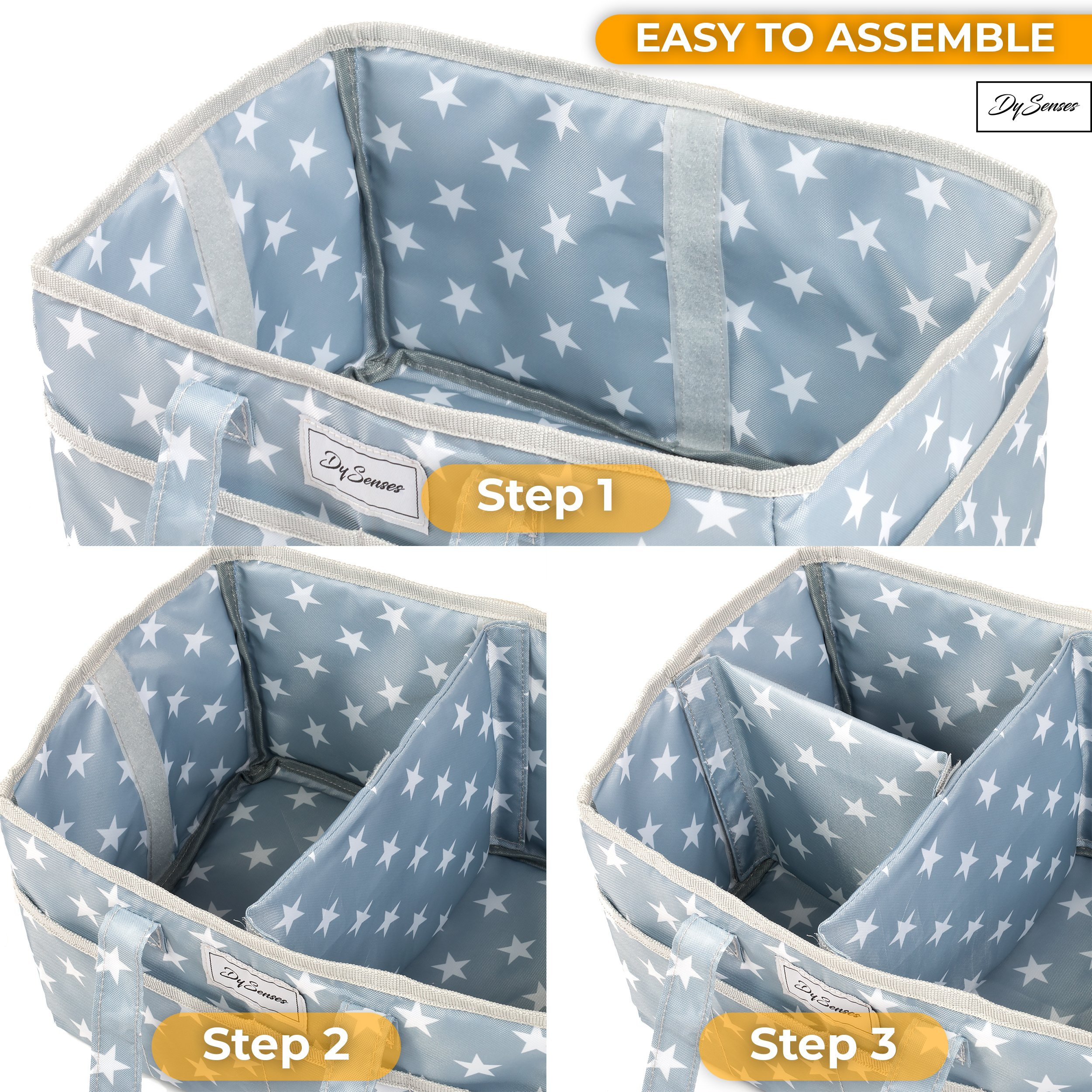 Diaper Storage Caddy Nursery Organizer | Grey Baby Diaper Caddy & Portable Changing Pad | Suitable for Car Travel Picnic & Nursing Station by DySenses (Image #7)