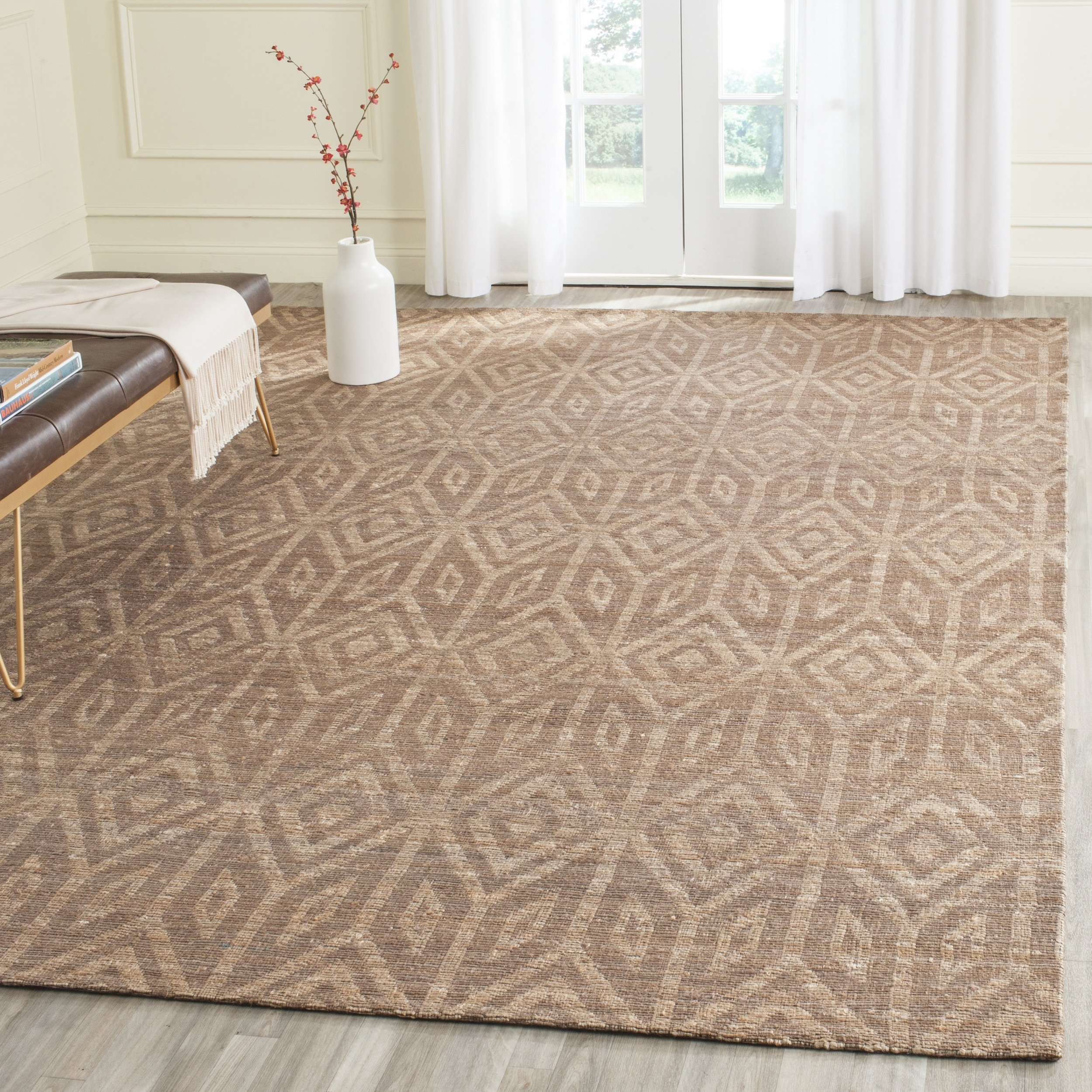 Safavieh Cape Cod Collection CAP411A Hand Woven Geometric Camel Jute and Cotton Area Rug (5' x 8') by Safavieh