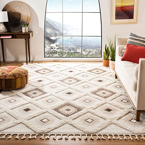 Safavieh Moroccan Tassel Shag Collection MTS601A Area Rug, 8 x 10 , Ivory Brown