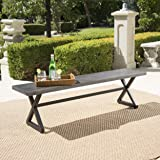 Christopher Knight Home 302488 Rolando Outdoor Grey Aluminum Dining Bench with Black Steel Frame
