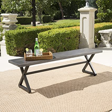 Amazing Christopher Knight Home 302488 Rolando Outdoor Grey Aluminum Dining Bench With Black Steel Frame Alphanode Cool Chair Designs And Ideas Alphanodeonline