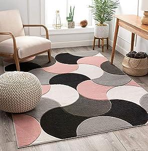 Well Woven Good Vibes Helena Blush Pink Modern Geometric Shapes 7'10