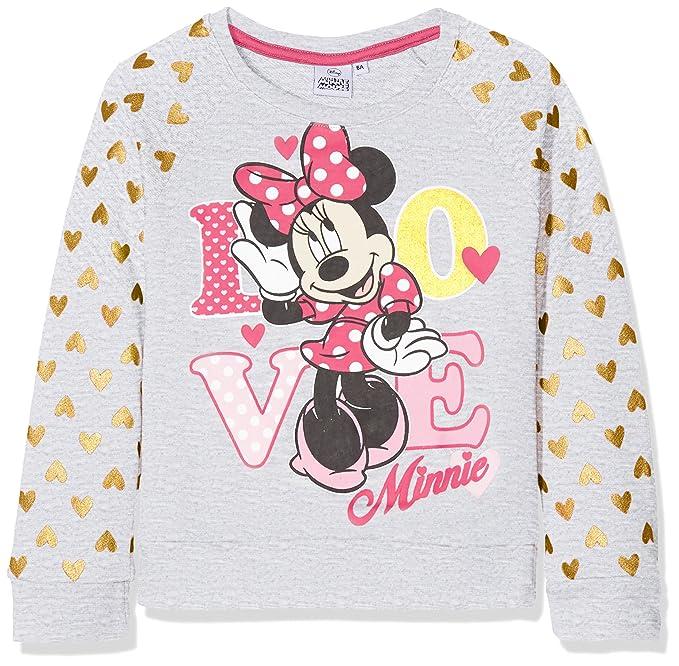 Disney Minnie Mouse, Sudadera para Niñas, Gris (Lgrey Grey Melange), 4