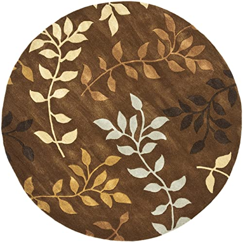 Safavieh Soho Collection SOH833A Handmade Brown and Multi Premium Wool Round Area Rug 6 Diameter