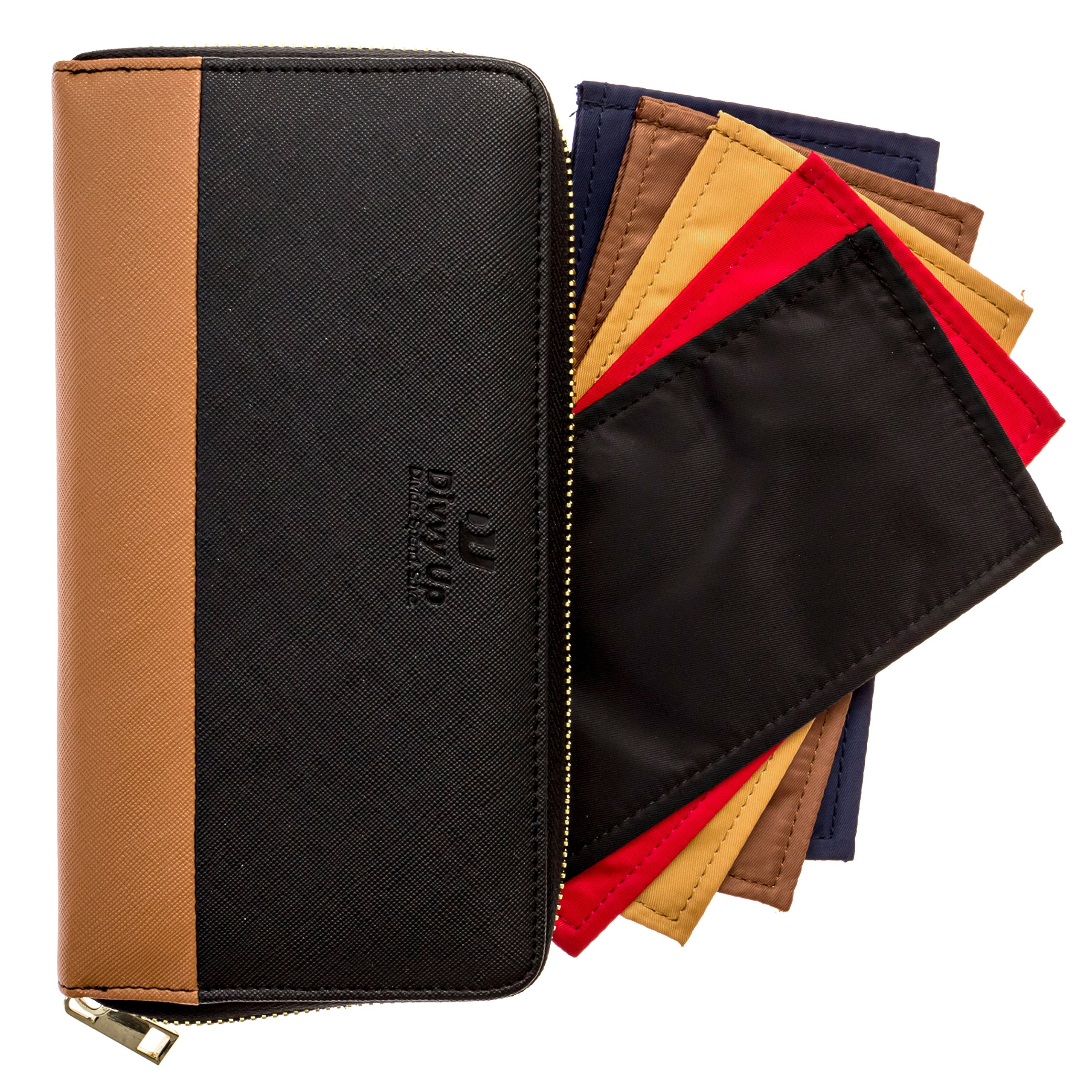 The Great Divide. A Cash System Wallet with 5 Magnetic Cash Envelopes by Divvy Up. (Black & Tan)