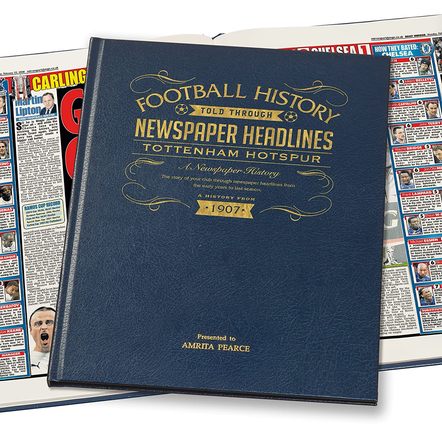 Personalised Tottenham Hotspur Newspaper Book - Leather Blue Cover Signature Gifts