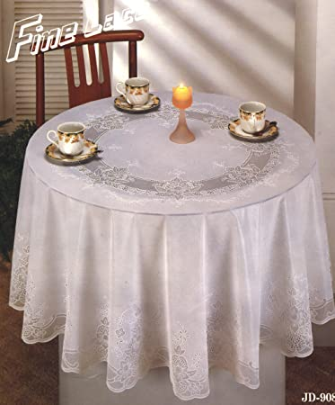 Tablecloth, Vinyl Lace 70 Inches Round, White