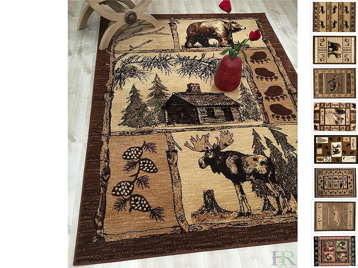 Handcraft Rugs Cabin Rug – Lodge, Cabin Nature and Animals Area Rug – Modern Geometric Design Cabin Area Rug – Abstract, Multicolor Design– Moose/Bear/Lodge/Nature (5x7 feet)