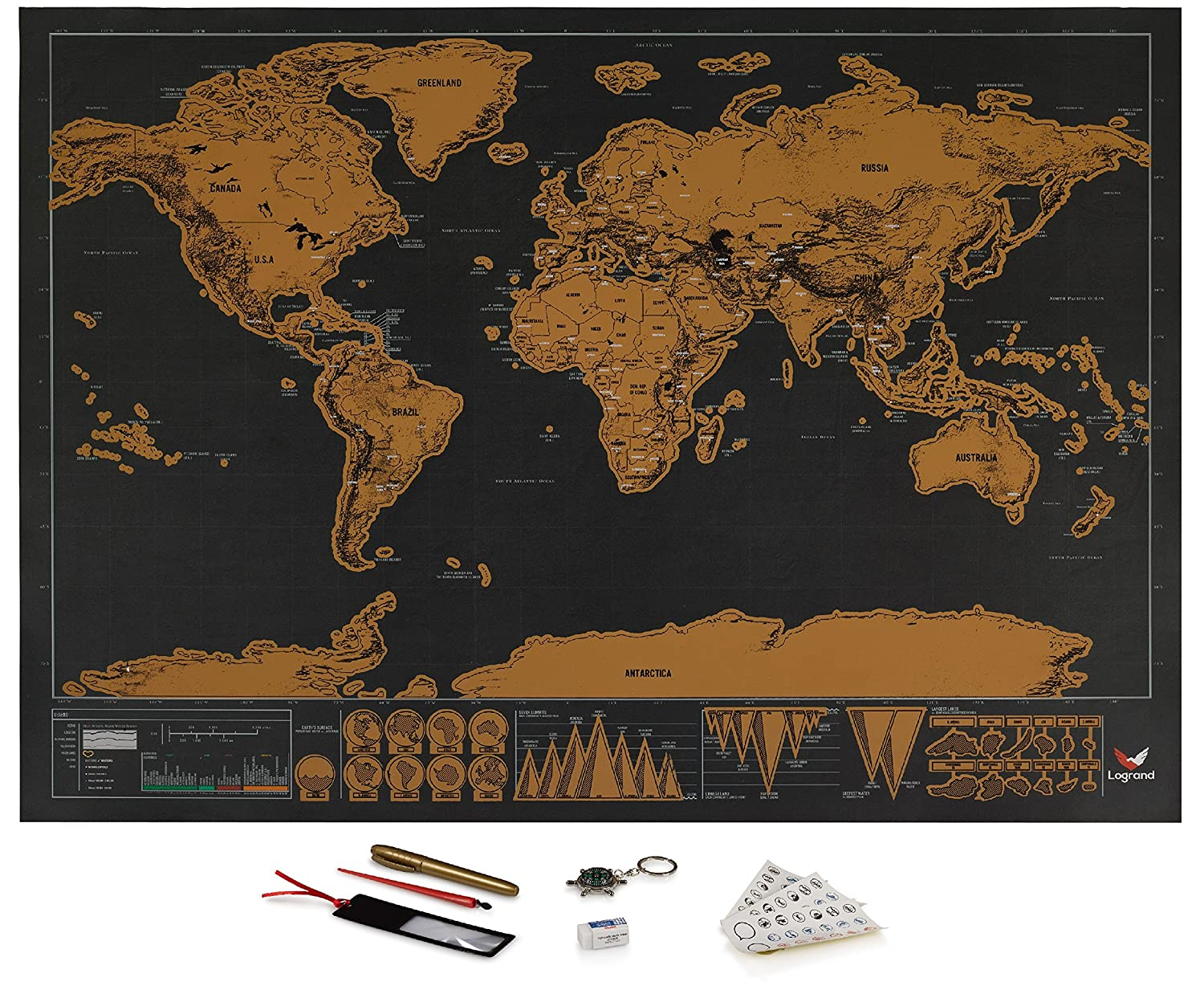 Scratch Off World Map Poster.Amazon Com Logrand Scratch Off World Map Poster With 7 Free