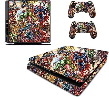 Superhéroe pegatinas de adhesivo/Skin PS4 Slim/Sony Playstation 4 Consola y mando a distancia, pss17: Amazon.es: Hogar