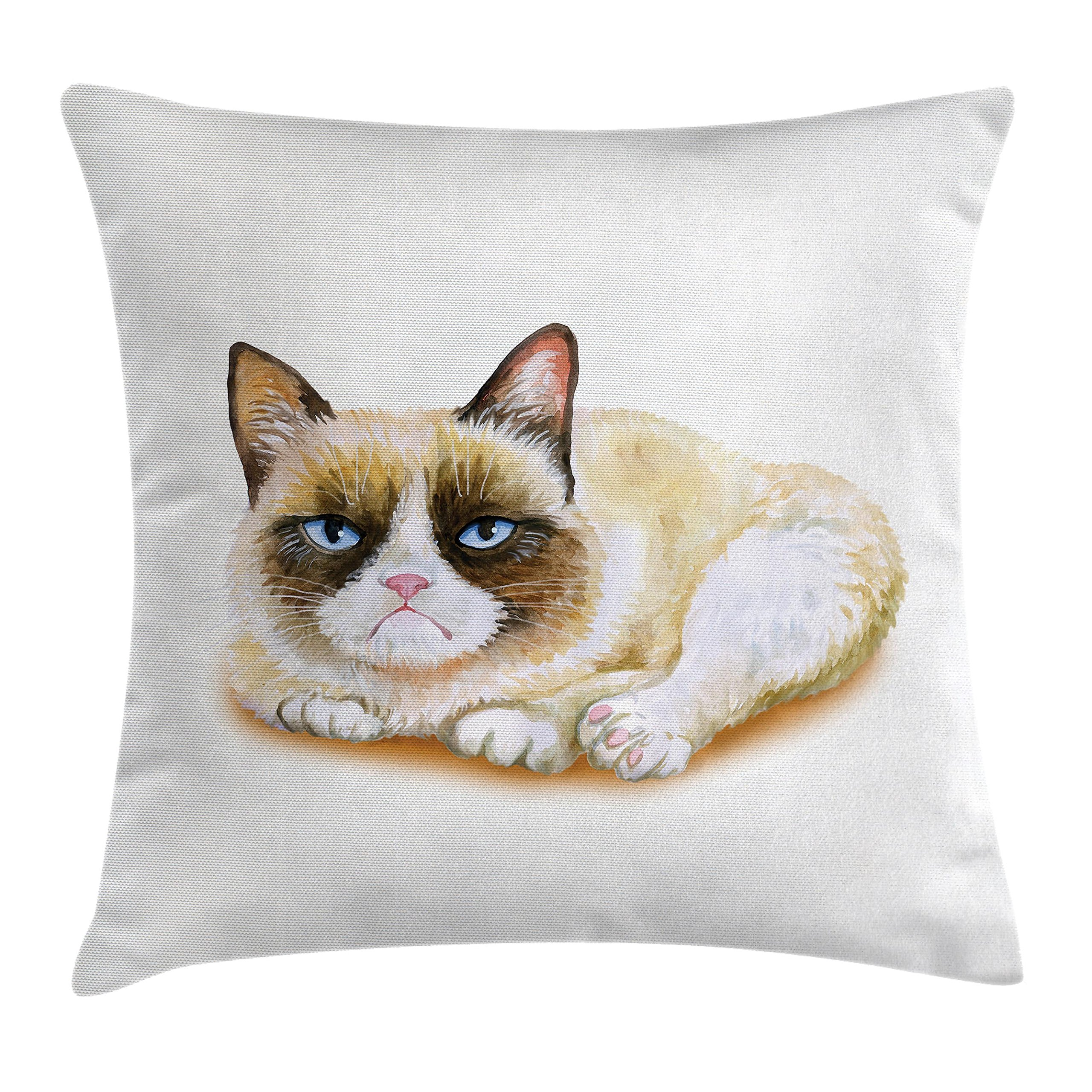 Ambesonne Animal Throw Pillow Cushion Cover, Grumpy Siamese Cat Angry Paws Asian Kitten Moody Feline Fluffy Love Art Print, Decorative Square Accent Pillow Case, 16 X 16 Inches, Brown and Beige