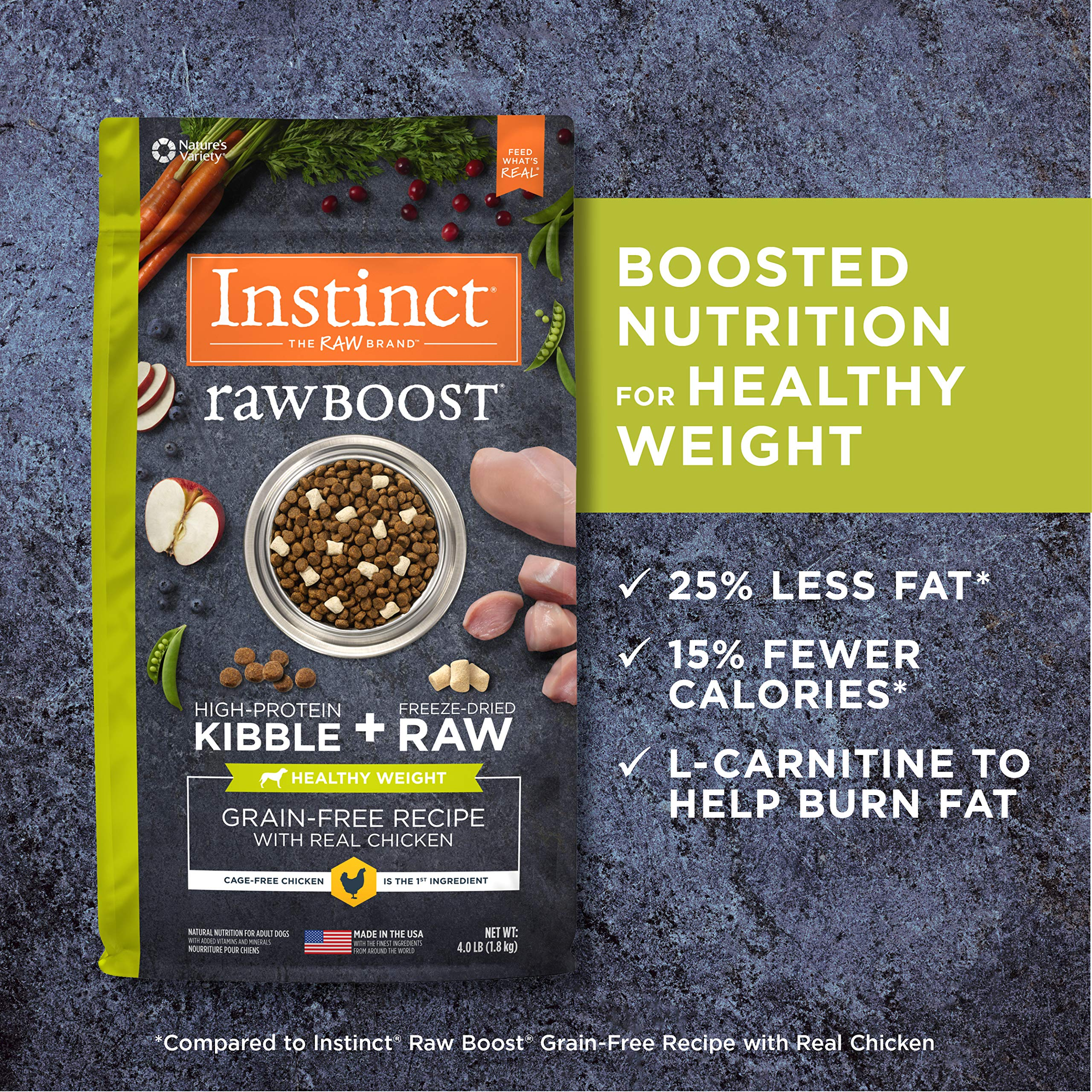 Instinct Raw Boost Healthy Weight Grain Free Recipe with Real Chicken Natural Dry Dog Food by Nature's Variety, 20 lb. Bag by Instinct (Image #6)