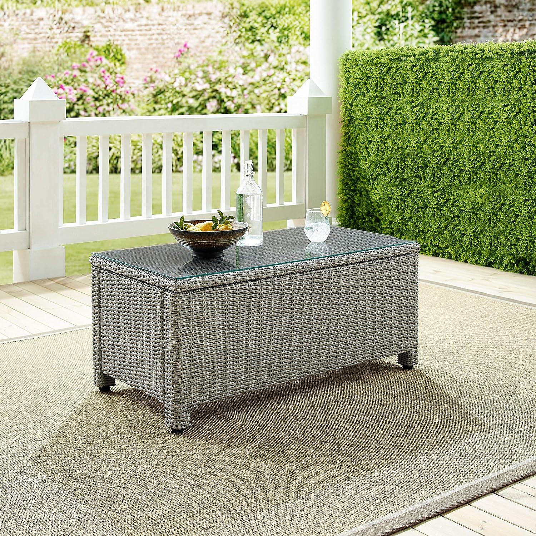 Crosley Furniture CO7208-GY Bradenton Outdoor Wicker Rectangular Tempered Glass Top Coffee Table, Gray : Garden & Outdoor