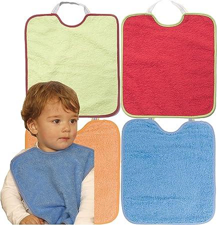 Ti TIN - Pack de 4 Baberos Impermeables para Bebé con Cierre con Goma 90% Algodón - 10% Poliéster con Forro de Plástico | Lote de 4 Baberos para Bebés de 12 Meses, 32x36 cm