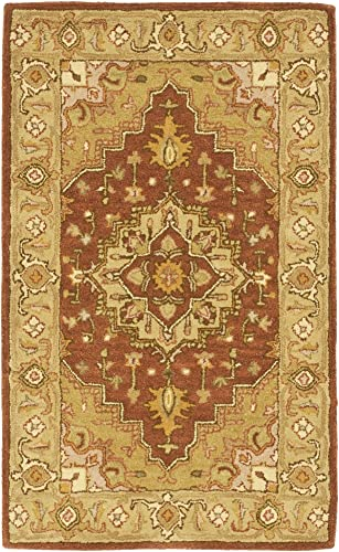 Safavieh Heritage Collection HG345A Handcrafted Traditional Oriental Rust and Gold Wool Area Rug 2 x 3