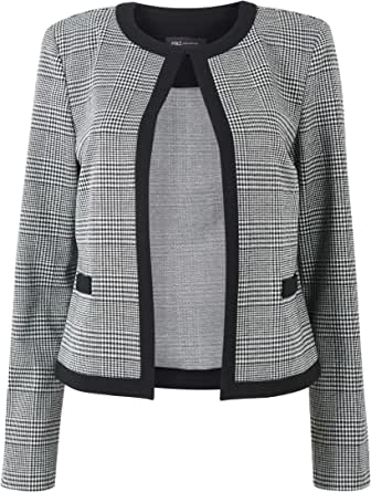 Marks & Spencer Women's Jersey Checked Edge To Edge Short Blazer, Black Mix