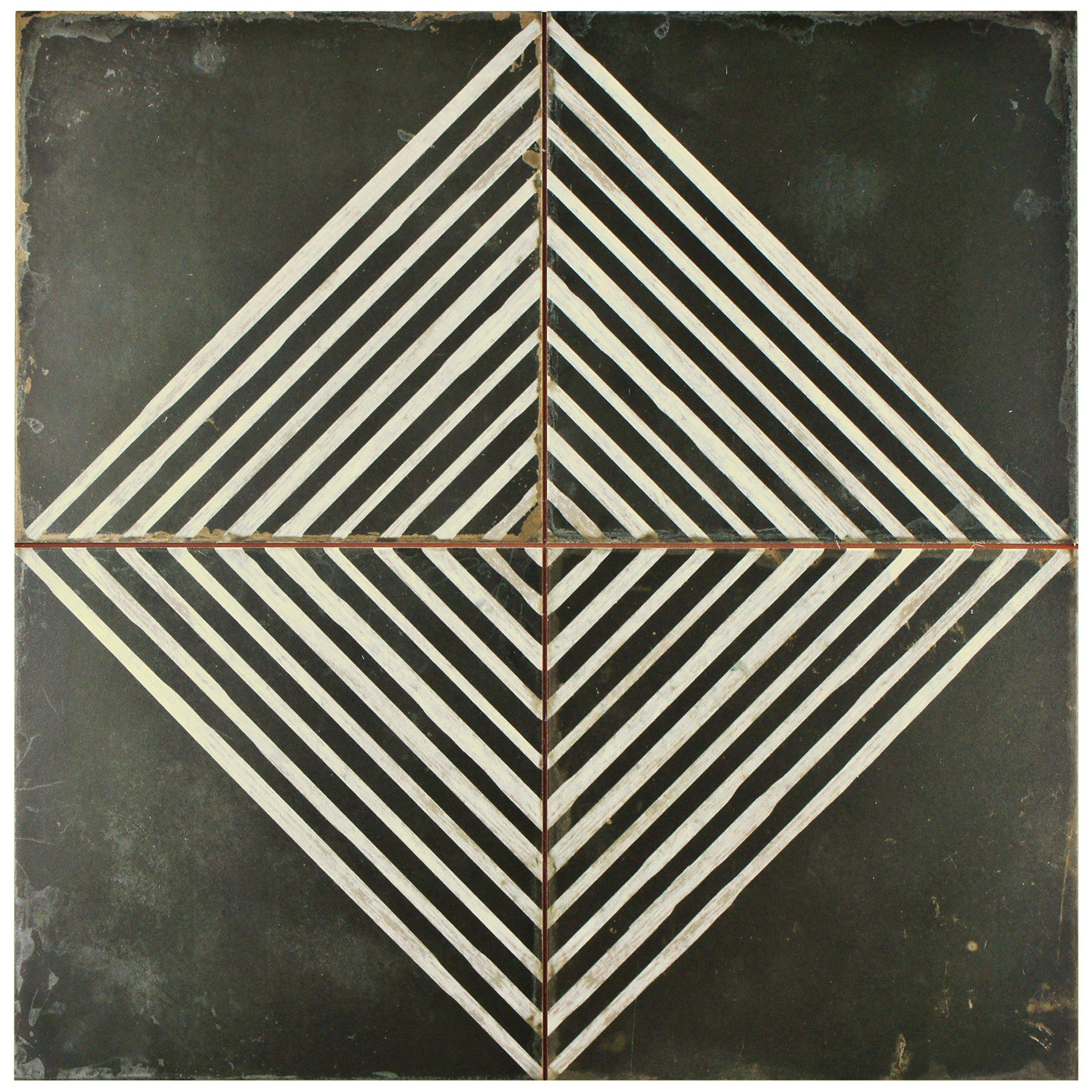 SomerTile FPEKROMB Reyes Ceramic Floor and Wall Tile, 17.75'' x 17.75'', Black/White