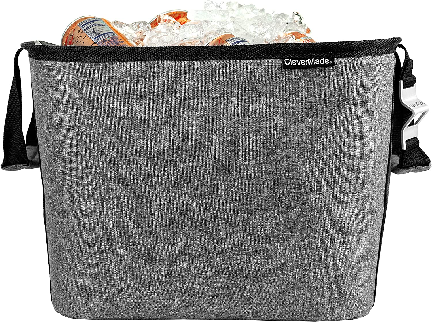CleverMade 36 Can Party Tub, Insulated Leakproof Collapsible Beverage Cooler Bucket & Ice Chest For Backyard Parties, Tailgating & Home Entertaining, Charcoal