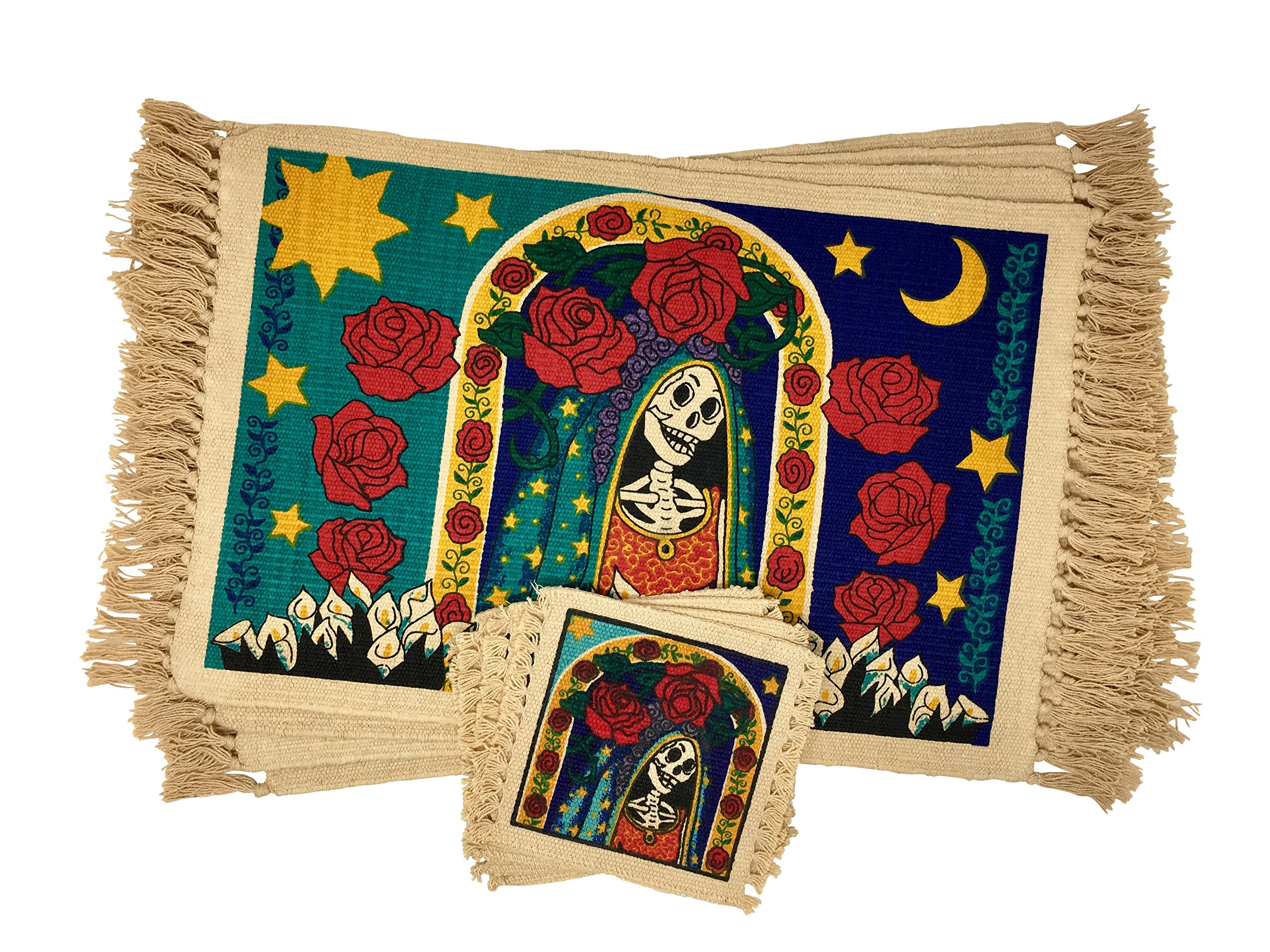 SpiritFest Sugar Skull Placemats & Coasters: Set of 8 Day of the Dead Kitchen & Dining Table Decor (Santa Muerte)