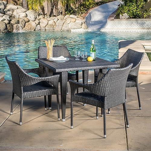 Alameda Outdoor 5-Piece Grey Wicker Dining Set