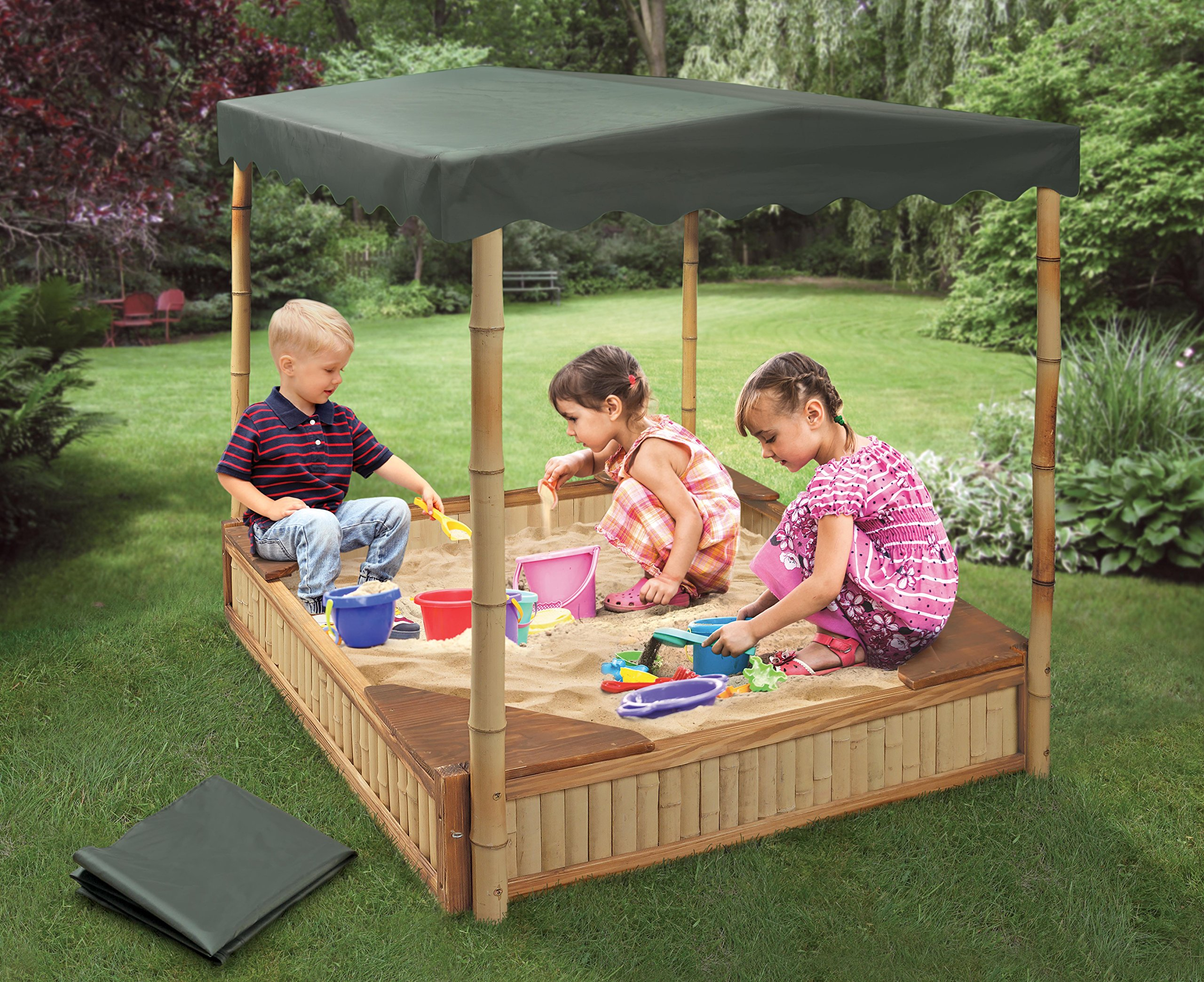 Badger Basket Tropical Fun Square Bamboo/Wood Outdoor Sandbox with Fabric Canopy/Cover and Seats, Natural/Green by Badger Basket (Image #2)