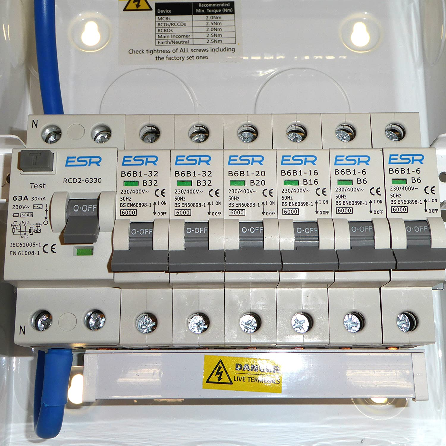 Metal 6 Way Consumer Unit With 63 Amp 30ma Rcd Trip Switch And 6x Fuse Box Circuit Breaker Together Safety Stock Photos Mcb 2x 6a 1x 16a 20a 32a Amendment 3 Lighting