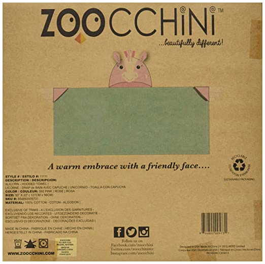 Amazon.com: ZOOCCHINI Hooded Towel, 50 inches x 22 inches, 100% Cotton Plush Terry, Toddlers and Kids, Great for Bath, Pool, and Beach! (Unicorn Aqua): Baby