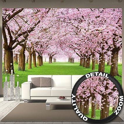 GREAT ART Foto Mural Flores de Cerezo - Decoración Flores Póster Jardín Cherry Trees Tapiz flores Asia (336 x 238 cm)