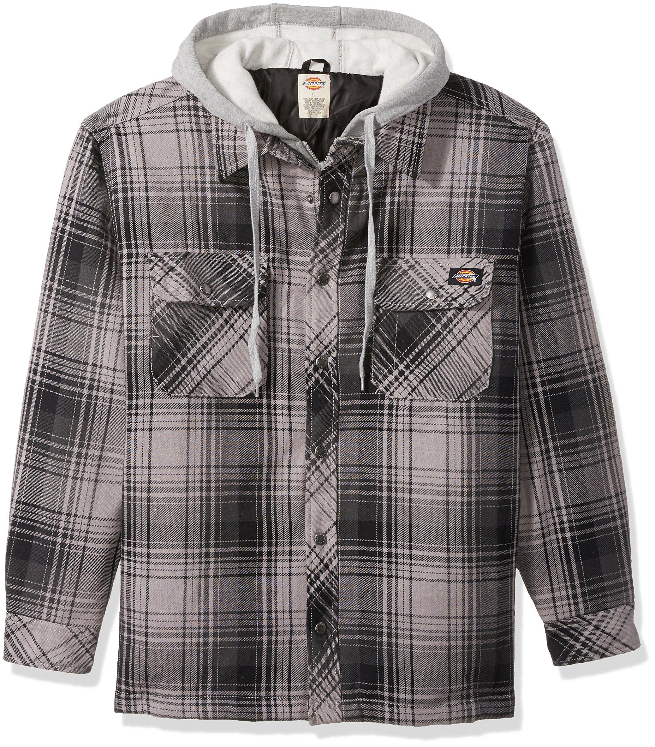 Dickies Men's Relaxed Fit Hooded Yarn Dye Plaid Shirt Jacket, Black/Smoke, Large