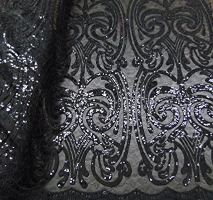 Art nouveau damask black sequin mesh polyester lace large print fancy elegant apparel wedding prom veil