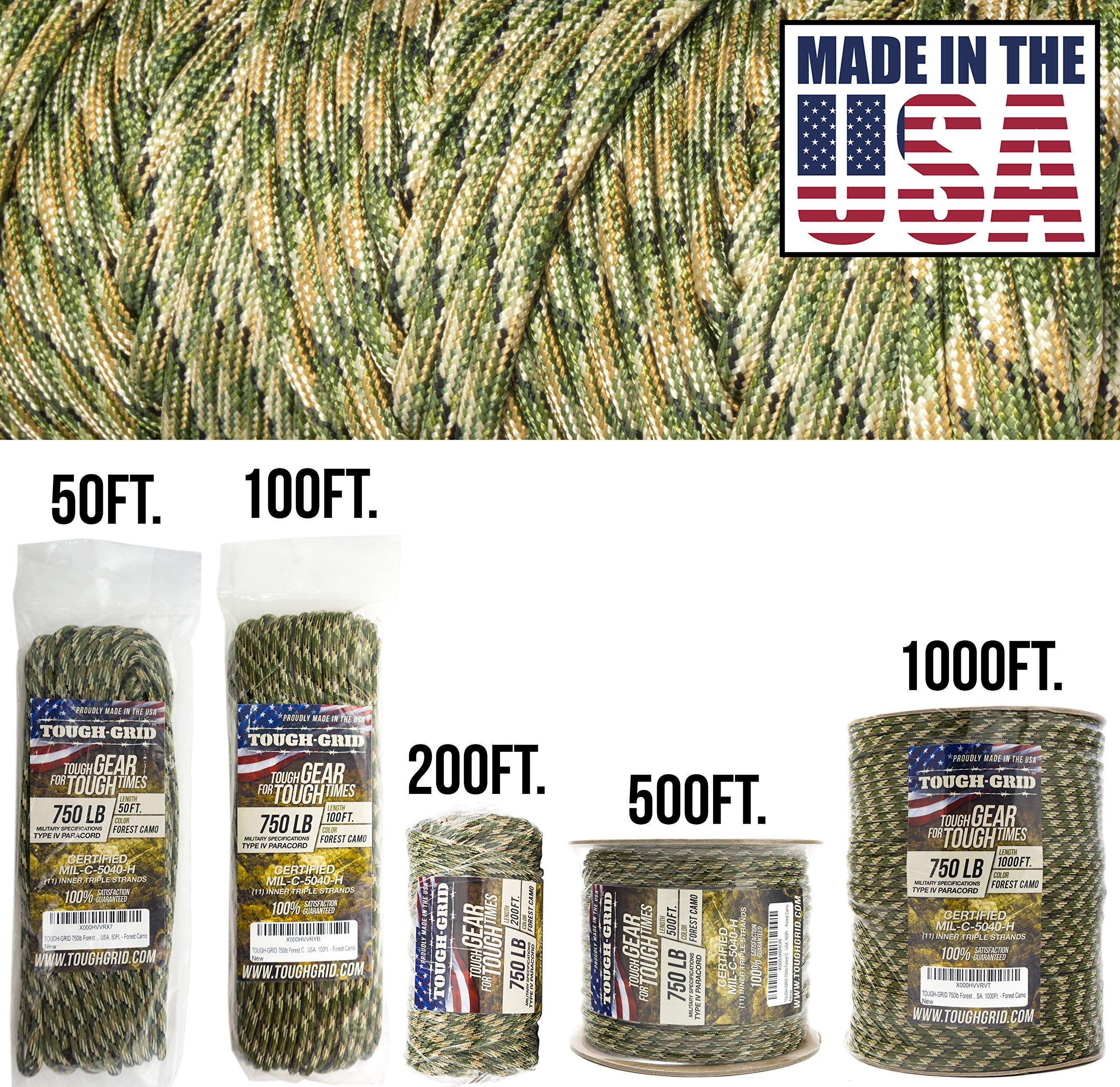 TOUGH-GRID 750lb Forest Camo Paracord/Parachute Cord - Genuine Mil Spec Type IV 750lb Paracord Used by The US Military (MIl-C-5040-H) - 100% Nylon - Made in The USA. 1000Ft. - Forest Camo by TOUGH-GRID