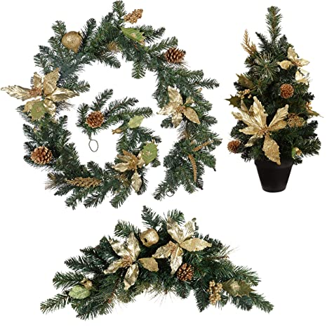 Werchristmas Garland Arch Swag And Potted Tree Christmas Decoration 6 Feet Medium Cream Gold