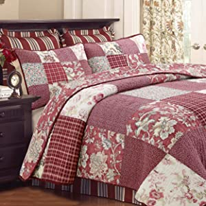 Cozy Line Home Fashions Eleanor Romantic Red Rose Floral Flower Pattern Real Patchwork 100% Cotton Reversible Quilt Set, Coverlet Bedspread (Red Floral, Queen - 3 Piece)