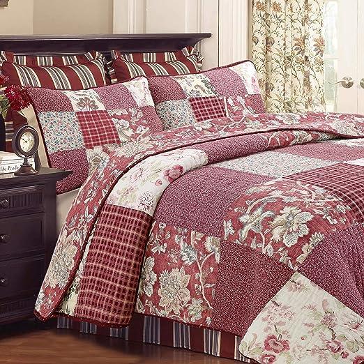 3PC Trip Around the World Queen Floral Patchwork Quilt Set//Bedding Package.