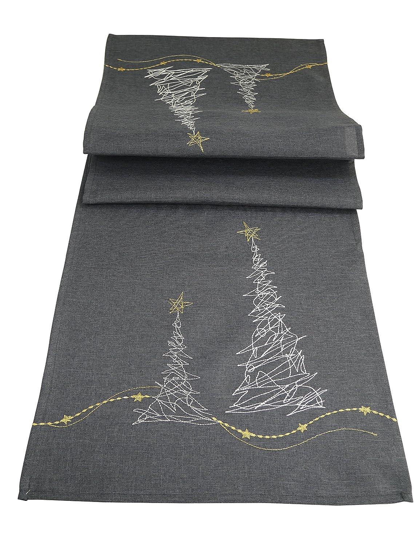 khevga Tischläufer Weihnachten modern in Grau mit Stickerei ...