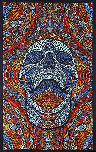 Sunshine Joy 3D Mindful Skull Tapestry Beach Sheet Hanging Wall Art Magical Decor – 60×90 Inches – Amazing 3-D Effects